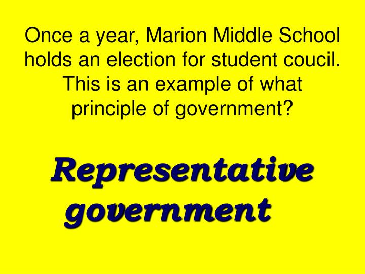 Once a year, Marion Middle School holds an election for student coucil.  This is an example of what principle of government?