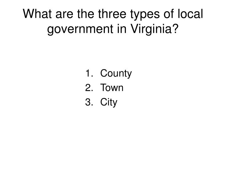 What are the three types of local government in Virginia?
