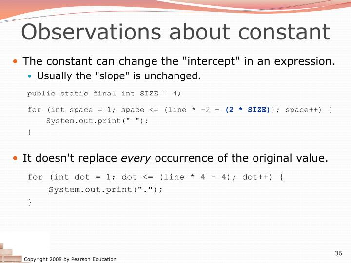 Observations about constant