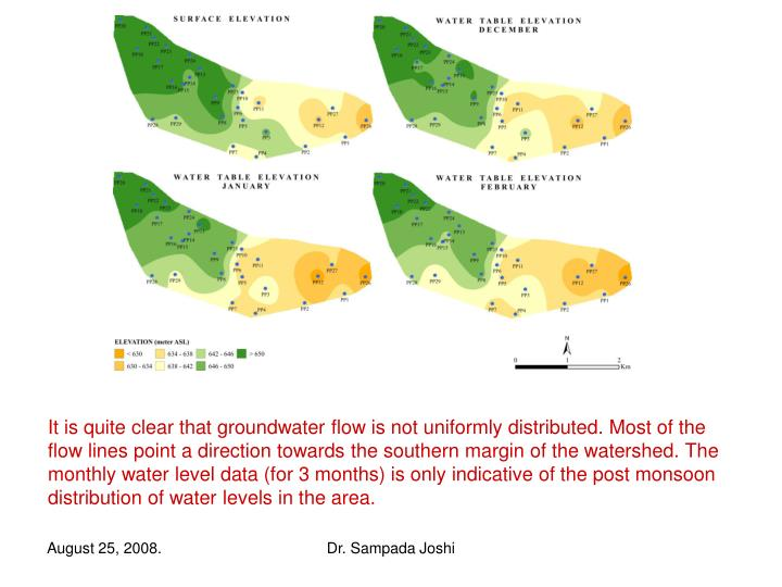 It is quite clear that groundwater flow is not uniformly distributed. Most of the flow lines point a direction towards the southern margin of the watershed. The monthly water level data (for 3 months) is only indicative of the post monsoon distribution of water levels in the area.
