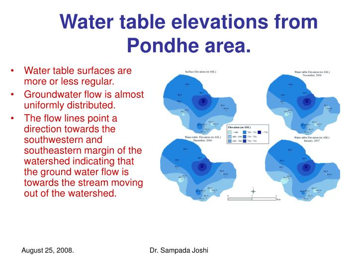 Water table elevations from Pondhe area.