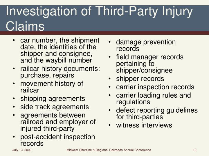 Investigation of Third-Party Injury Claims