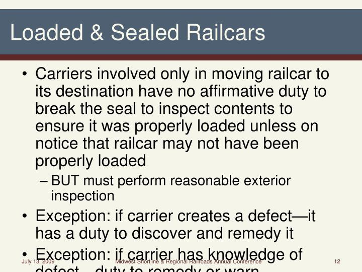 Loaded & Sealed Railcars