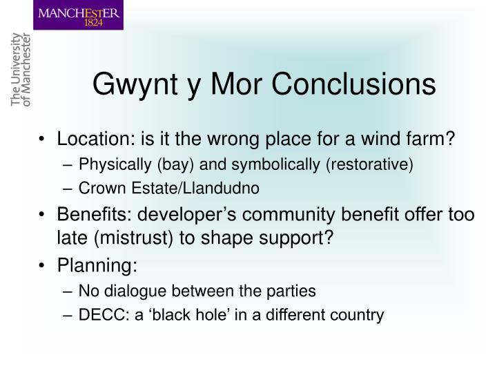 Gwynt y Mor Conclusions