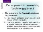 our approach to researching public engagement