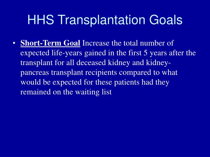 HHS Transplantation Goals