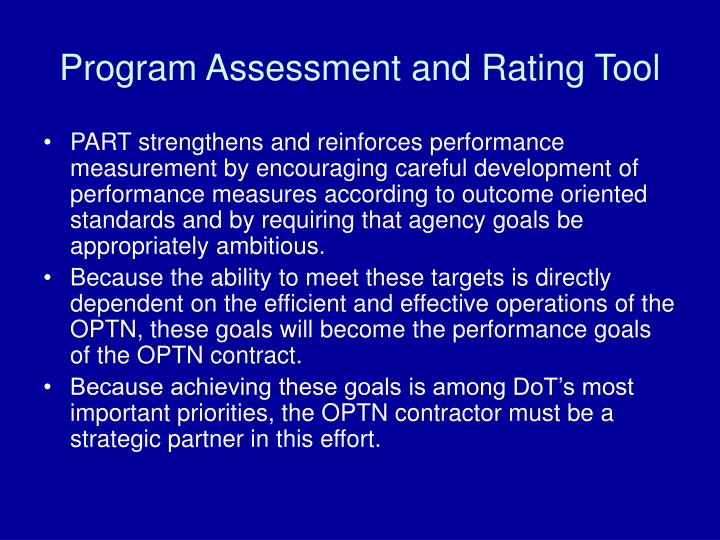 Program Assessment and Rating Tool
