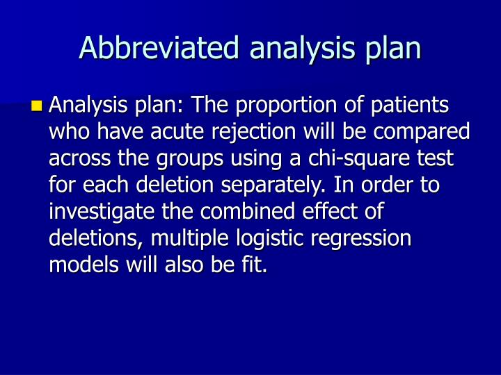 Abbreviated analysis plan
