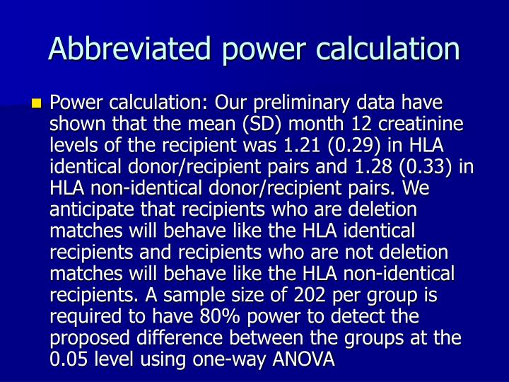Abbreviated power calculation