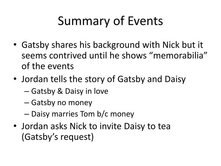 Summary of events1