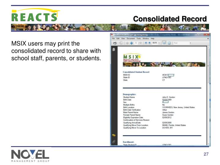 Consolidated Record