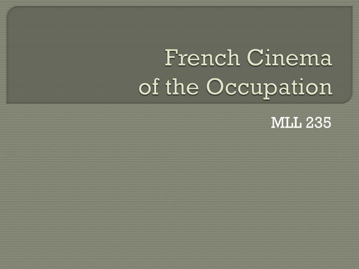 French cinema of the occupation