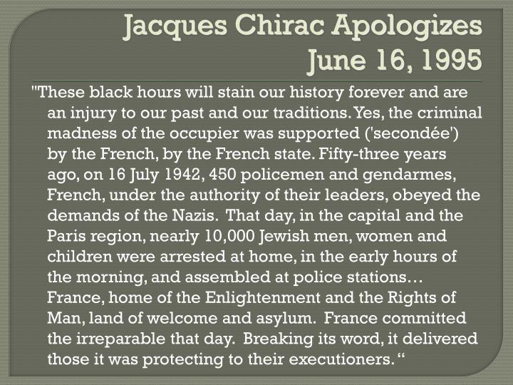Jacques Chirac Apologizes