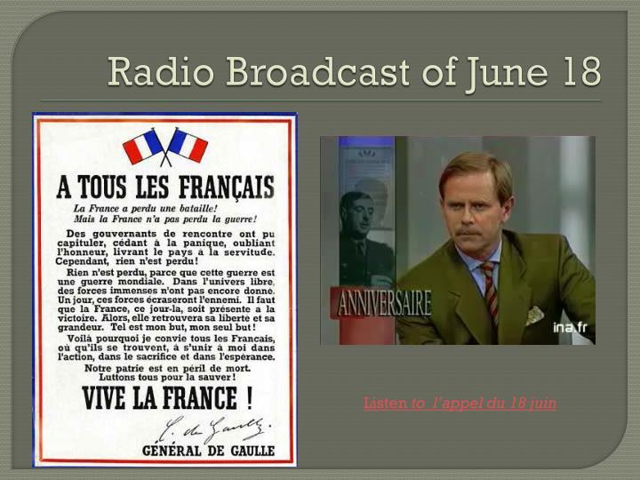 Radio Broadcast of June 18
