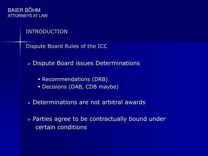 Introduction dispute board rules of the icc