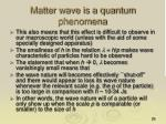 matter wave is a quantum phenomena