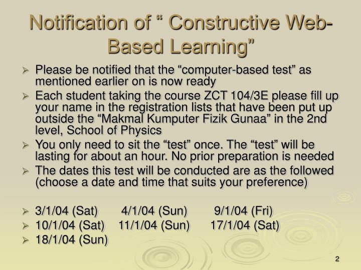 """Notification of """" Constructive Web-Based Learning"""""""
