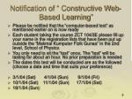 notification of constructive web based learning