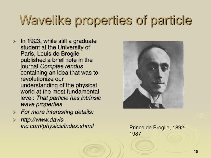Wavelike properties of particle