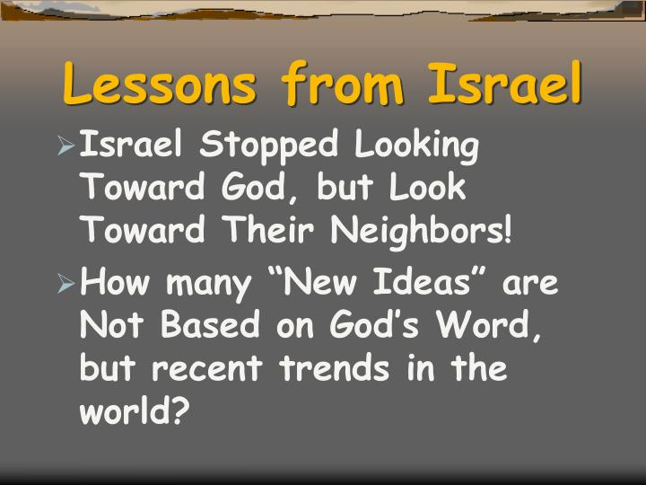 Lessons from Israel