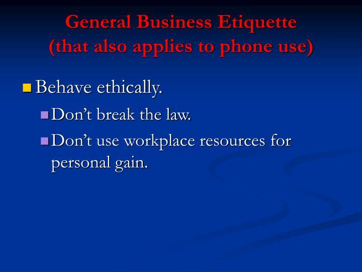 General Business Etiquette