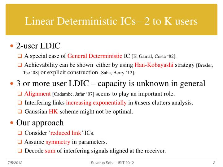Linear Deterministic ICs– 2 to K users