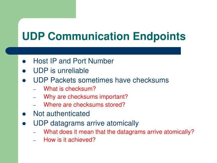 UDP Communication Endpoints