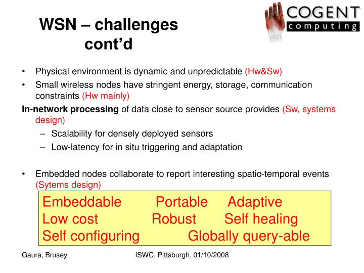 WSN – challenges cont'd