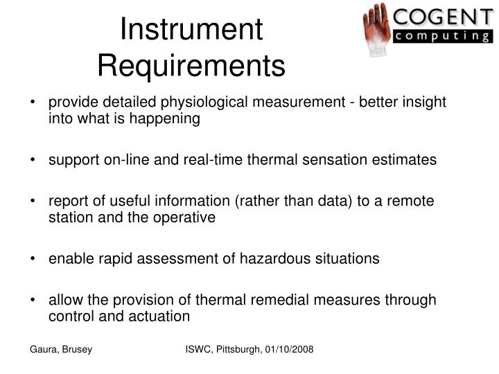 Instrument Requirements