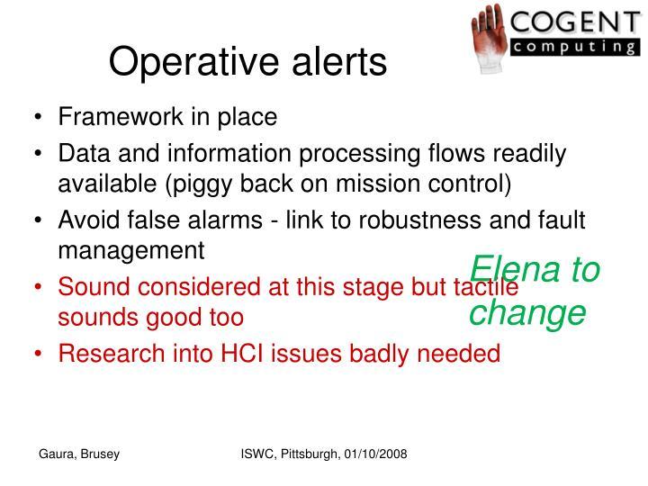 Operative alerts