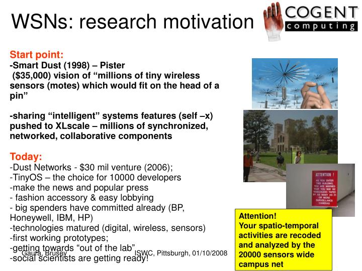 WSNs: research motivation