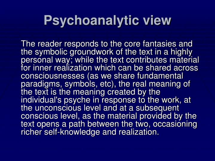 Psychoanalytic view