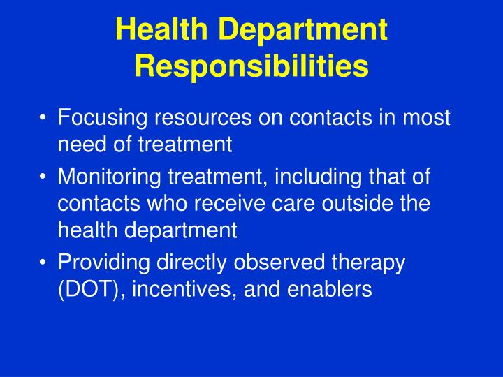 Health Department Responsibilities