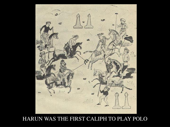 HARUN WAS THE FIRST CALIPH TO PLAY POLO
