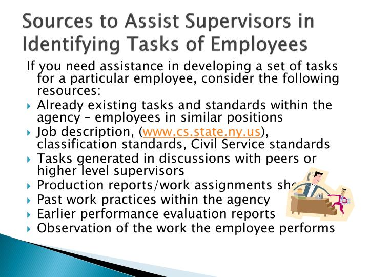 Sources to Assist Supervisors in Identifying Tasks of Employees