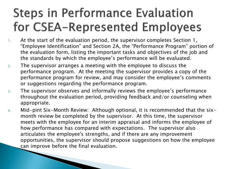 Steps in Performance Evaluation for CSEA-Represented Employees