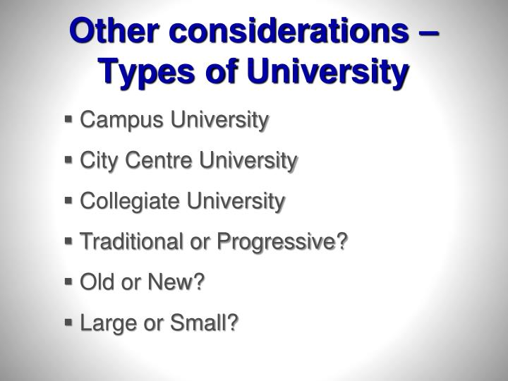 Other considerations –