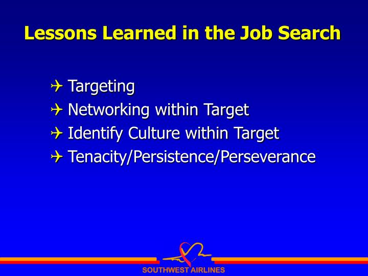 Lessons Learned in the Job Search