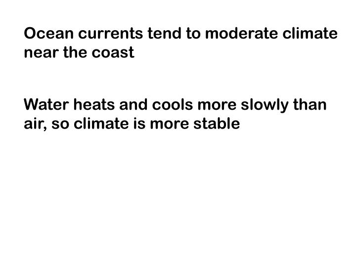 Ocean currents tend to moderate climate