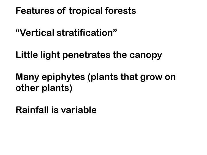 Features of tropical forests