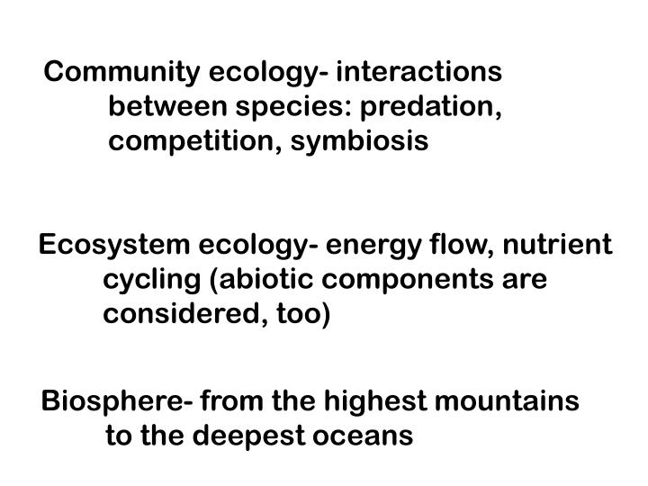 Community ecology- interactions