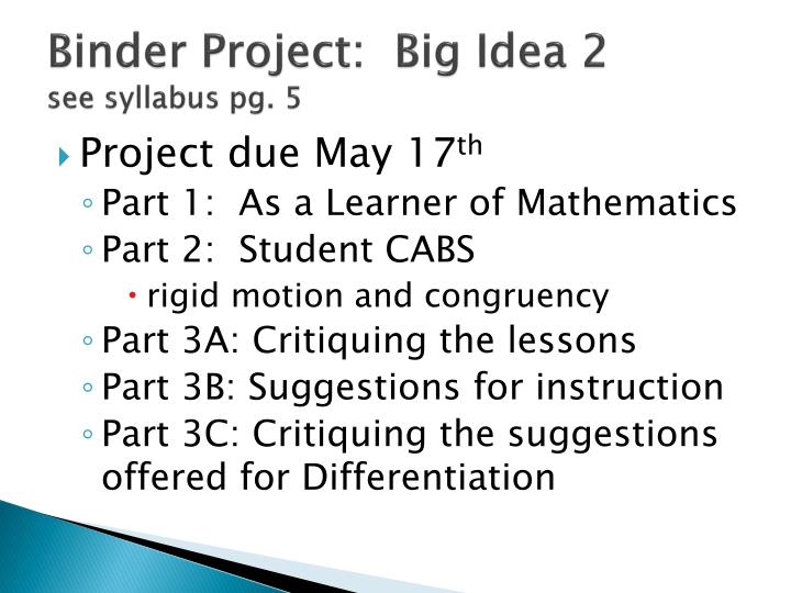 Binder Project:  Big Idea 2