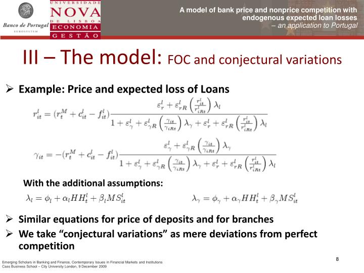 Example: Price and expected loss of Loans