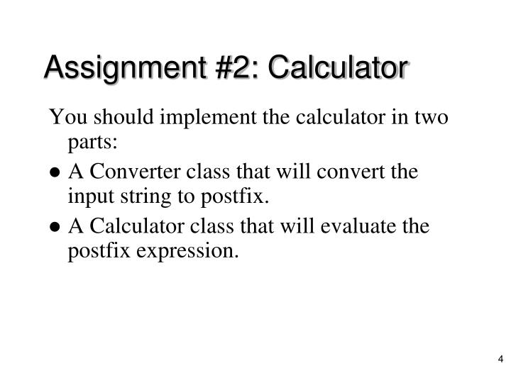 Assignment #2: Calculator