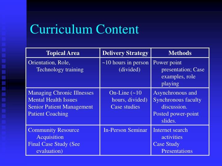 Curriculum Content