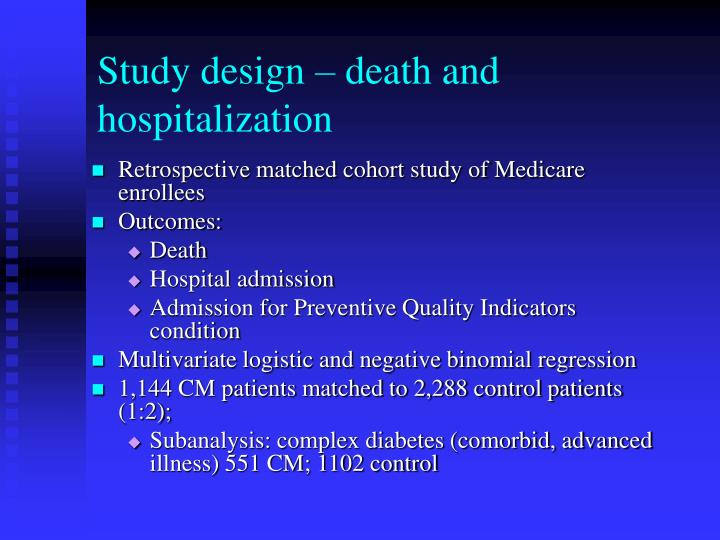 Study design – death and hospitalization
