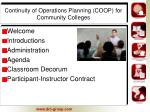 continuity of operations planning coop for community colleges