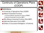 continuity of operations plans coop