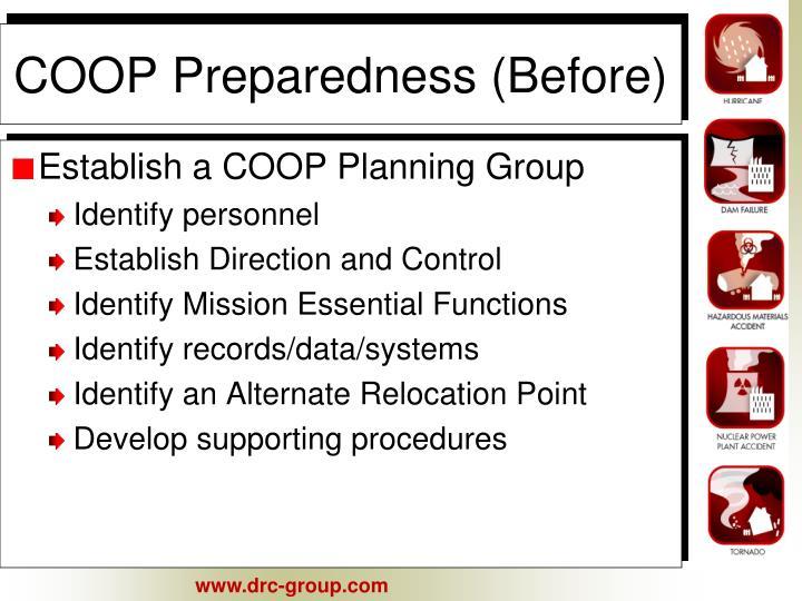 COOP Preparedness (Before)