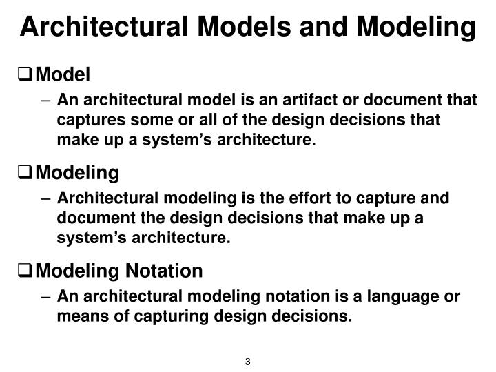 Architectural Models and Modeling